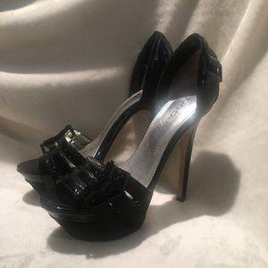 Bebe d'orsay leather pumps size 7 black